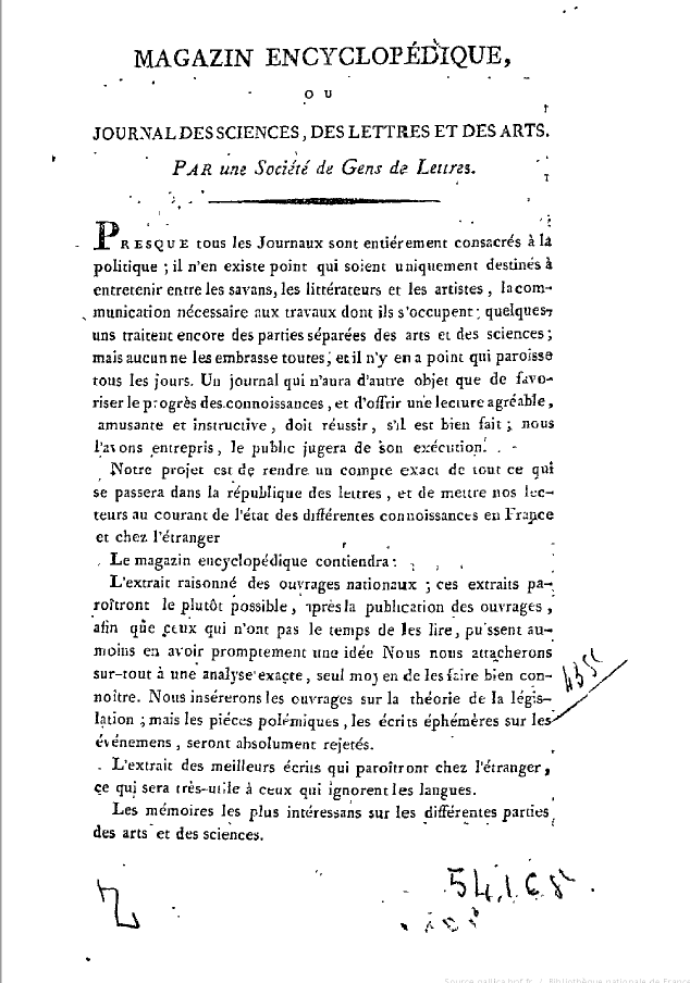 Page 1 du Magazine encyclopéqique