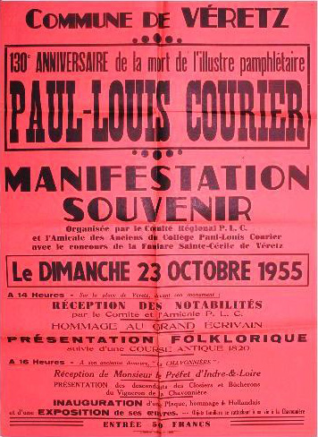 Affiche de la commémoration du 130e anniversaire de la mort de Paul-Louis Courier (photo JP Lautman)